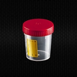 Show details for Transparent polypropylene urine container 120 ml with white screw cap and yellow label 100pcs