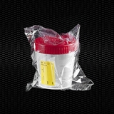 Show details for Transparent polypropylene urine container 120 ml with red screw cap and yellow label individually wrapped 100pcs