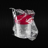 Show details for Transparent polypropylene urine container 120 ml with red screw cap individually wrapped STERILE R 100pcs