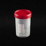 Show details for Polypropylene urine container 150 ml with red screw cap and label STERILE R 100pcs