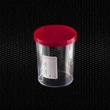 Show details for Polystyrene urine container 150 ml with red press-on cap and white label STERILE R 100pcs