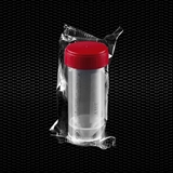 Show details for Transparent polypropylene urine container 30 ml with red screw cap individually wrapped STERILE R 100pcs