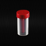 Show details for Polypropylene faeces container 60 ml 35x70 mm with red screw inserted cap Sterile R 100pcs