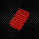 Показать информацию о Красная полипропиленовая универсальная стойка для пробирок, 50 отверстий, круглые Ø 12/13 мм и Ø 16/17 мм 100шт.