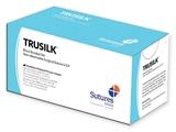 Show details for TRUSILK NON ABSORB. SUTURE gauge 5/0 circle 3/8 needle 19 mm - 70 cm - black, 12 pcs.