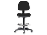 Show details for STOOL with backrest and ring - black 1pcs
