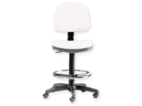Show details for STOOL with backrest and ring - white 1pcs