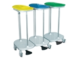 Show details for  BAG HOLDER TROLLEY foot operated - 3 bags 1pcs